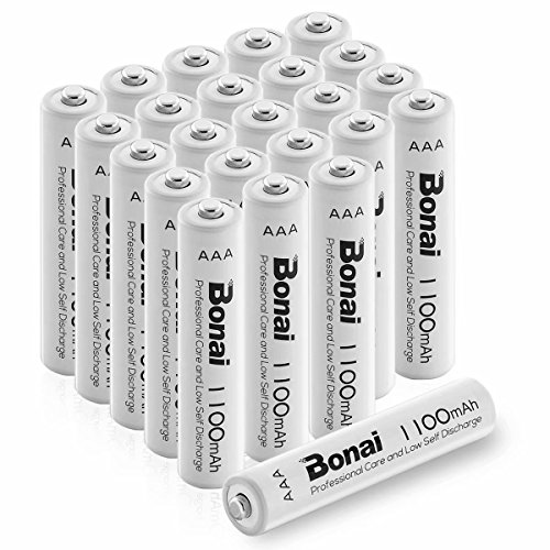 BONAI 1100mAh AAA Rechargeable Batteries 24 Pack,BONAI 1100mAh 1.2V Ni-MH Rechargeable AAA Batteries high Capacity - UL Certificate Triple a Batteries