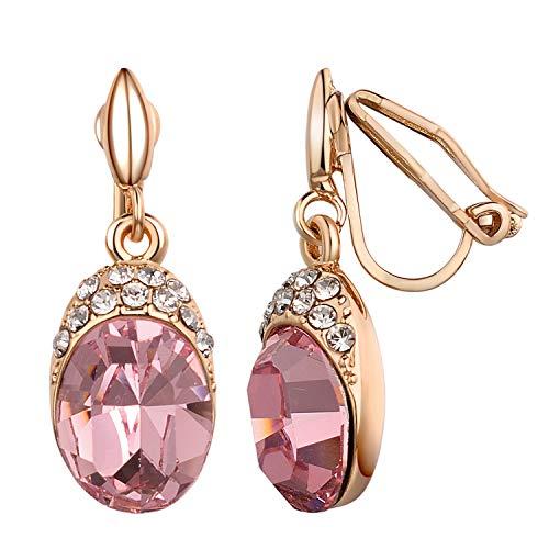 Yoursfs - Orecchini pendenti pendenti a clip, da donna, con pietra portafortuna e cristalli, non forati e metallo placcato oro rosa 18 ct, colore: Orecchini pendenti a clip., cod. Earring1082R1