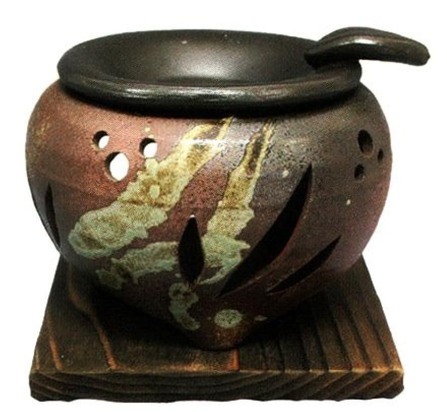 倍増元気なスロー常滑焼?山房窯 カ39-04 茶香炉 杉板付 約φ11.5×9.5cm