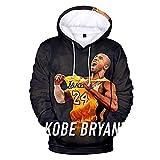 Unisex NBA Jersey Hoodies Hombres 3D Kobe Bryant Print Pullover Sudaderas de Manga Larga, M