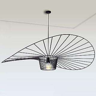 KALRTO Lámpara Colgante Vintage para Sala De Estar, Lámpara Colgante, Simple Creativo (Altura De La Luz Ajustable), Diseño De Sombrero De Fibra De Vidrio + Tela De Fibra E27 MAX 40W