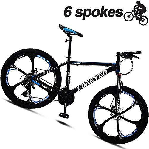 KaiKai Hybrid Bikes for Männer mit Scheibenbremsen, Hardtail Mountainbike 24 Zoll, Federgabel, 6 Spoke Wheels Straße Bycicles MTB for Verschiedene Terrains, Rot, 24-Gang