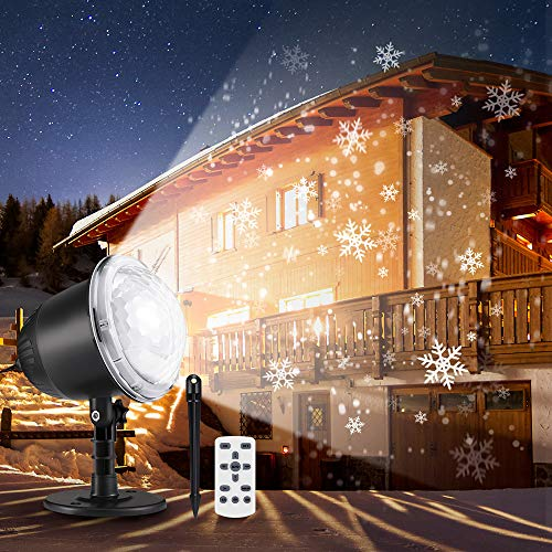 Snowfall LED Light Projector, 2019 Upgrade Christmas Snowflake Projection Lamp Waterproof Snow Flurries Landscape Spotlight with Remote Control for Xmas Halloween Party Wedding and Garden Indoor Decor