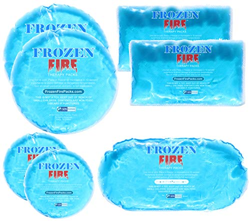 Frozen Fire Hot Cold Gel Packs – 7 Reusable Packs in 4 Sizes for Multiple Applications - Muscle & Joint Pain, Sinus Relief, First Aid for Injuries, Tired Eyes, Child Boo Boos, or Keeping Lunches Cool