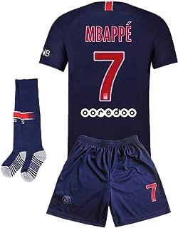 Paris St Germain 19-20 Home #7 MBAPPE Kids Or Youth Soccer Jersey & Shorts & Socks Blue