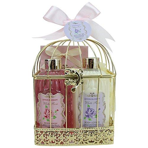 Coffret cadeau beauté pour femme - Cage de Bain métallique incluant une lotion corporelle - Collection White Rose - Rose/Jasmin & Magnolia