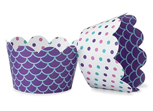 Mermaid Cupcake Wrappers for Beach, Sea Weddings, Girls Birthday Parties, Ocean Baby or Bridal Showers. Set of 24 Reversible Polka Dot, Scalloped Cup Cake Holder Wraps. Turquoise, Purple, Teal