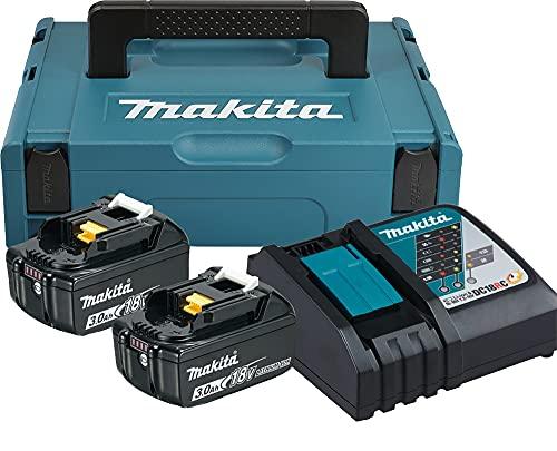 Makita 197952-5 Power Source Kit con 2litium Litio Baterías, 18V, 3,0Ah y 197952–5, 0 W, 230 V, türkisschwarz