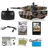 MODELTRONIC Tanque Radio Control alemán Heng Long Leopard 2A5 Escala 1/24 versión con batería Litio, emisora 2.4G con Sonido, Airsoft, Infrarrojos