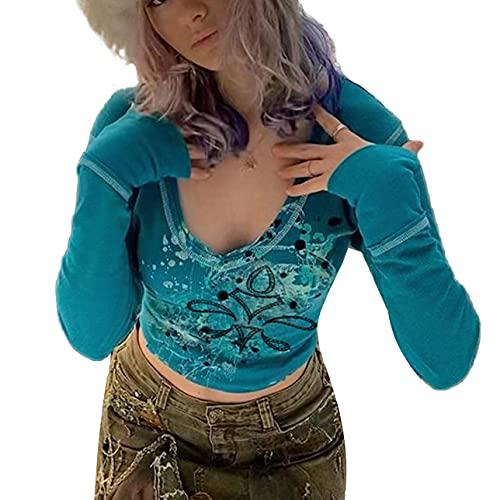 Pabuyafa Mujeres Y2K manga larga Crop Tops Fairy Grunge 90's Estética T-Shirts V cuello otoño camiseta básica, azul, S