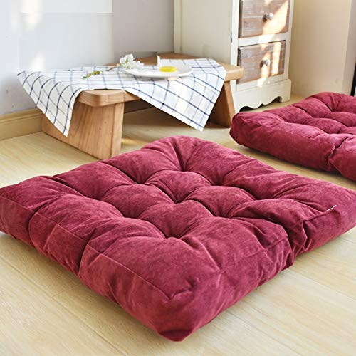 HIGOGOGO Solid Square Seat Cushion, Tufted Thicken Pillow Seat Soft Corduroy Chair Pad...