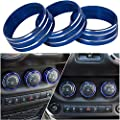 Danti 3pcs Audio Air Conditioning Button Cover Decoration Twist Switch Ring Trim for Jeep Wrangler JK JKU Patriot Liberty 2011-2018 Dodge Challenger 2008-2014 (Blue)