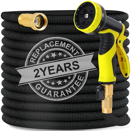 Expandable Garden Hose, 100ft Strongest Flexible Water Hose, 9 Functions Sprayer with Double Latex Core, 3/4' Solid Brass Fitting, Extra Strength Fabric, Upgraded Lightweight Expanding Hose By Domumdo