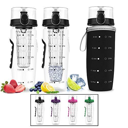 Bevgo Fruit Infuser Water Bottle – Large 32oz - Hydration Timeline Tracker – Detachable Ice Gel Ball With Flip Top Lid