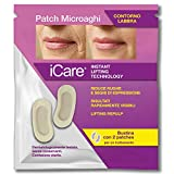 iCare Patch Microaghi Contorno Labbra (2 pz), Instant Lifting Technology con Acido Ialuronico HD, Indolore, Monouso, Brevettato per Eliminare Rughe Naso-Labiali, Idratante, Nutriente, Elasticizzante