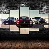 XHYUE 5 Piezas Cuadro sobre Lienzo Imagen Póster Ford Mustang Shelby GT500 2020 Impresión Pinturas Murales Decor Dibujo con Marco Fotografía 59.1x31.5 Inch(WxH)