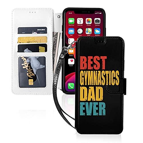 LINGF Handyhülle,Beste Gymnastics Dad Ever Hülle für iPhone 11 Pro max Hülle Niedlich für Damen Herren Geldbörse Ledertasche mit Riemen Schutzhülle