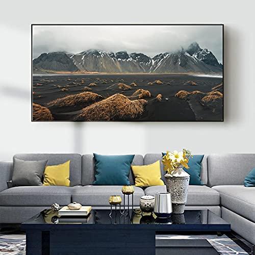 Pintura de paisaje iceberg otoño dorado cuento de hadas lienzo oficina sala de estar pasillo decoración del hogar mural-30x50cm (12x20 pulgadas) sin marco