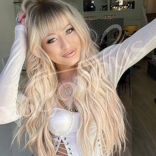Long Blonde Curly Wavy Wigs with Bangs Ombre Blonde Natural Looking Long Thick Wavy Wig for Women Long Heat Resistant Fiber Synthetic Wig for Daily Use.