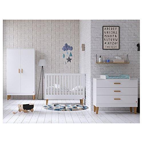 Chambre complète lit évolutif 70x140 - commode à langer - armoire 2 portes Lounge - Blanc