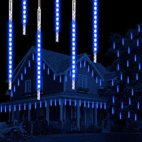 Météor Douche Goutte De Pluie Lumières, Vikdio 50cm 10 tubes en spirale 540 LEDs Imperméable Neige Chute Lumières pour Noël Halloween Jardin Arbre Décor, Soutien 2 ensembles crochet (Bleu)