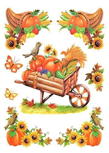 dpr. Fensterbild Set 8-tlg. Herbst Erntezeit Herbstfrüchte Kürbis Sonnenblumen Schmetterlinge Blätter Laub statisch selbsthaftend Fenstersticker Sticker Aufkleber