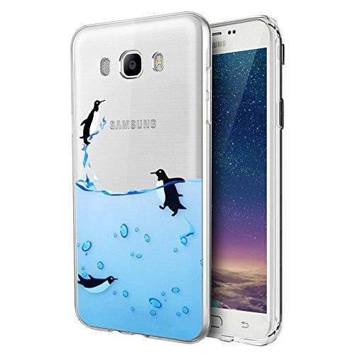 Funda Samsung Galaxy J7 2016, Eouine Cárcasa Silicona 3D Transparente con Dibujos Diseño Suave Gel TPU [Antigolpes] de Protector Bumper Case Cover Fundas para Movil Samsung Galaxy J7 2016 (Pingüinos)