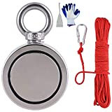 "1200LBS (544KG) Combined Pulling Force Double Sided Fishing Magnets with Rope x 66ft, Super Strong MagnusMags Neodymium Rare Earth Magnet Fishing Kit for Fishing Treasure in River -2.95"" Diameter"