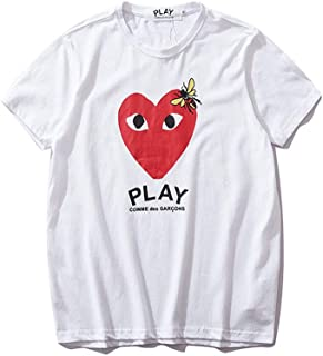 Fashion Play Love Letter Bee Print Men and Women Couples Short Sleeve T-Shirt