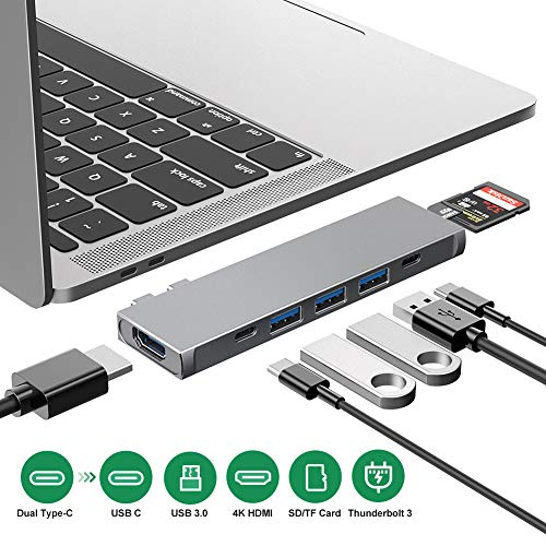 USB C-hub, 8 in 1 dockingstation met dual C-adapter, Thunderbolt 3-hub met 4K HDMI, TF/SD-kaartlezer, 3 USB 3.0 poorten, 100 W USB C stroomvoorziening compatibel met MacBook Pro 13 ▸ en 15 staten. space grey
