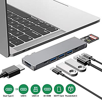 USB C Hub, Aluminum 8 in 1 Dual Type C Adapter Thunderbolt 3 Hub with 4K HDMI, TF/SD Card Reader, 3 USB 3.0 Ports, 100W USB C Power Delivery Compatible with MacBook Pro 13?and 15?