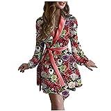 PANGF Albornoz para mujer con estampado, de manga larga, albornoz de sauna, elegante escote en V, pijama suave y cálido, camisón con cinturón, para casa, ligero, bata de dormir, 03-morado, XL