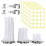 Aslanka Candle Making Kit,150 Pieces Candle Wicks with 100pcs Double-Sided Dots Wick Stickers and 2pcs 3-Hole Candle Wicks Holder for DIY Candles Craft Tools Candle Making Kit (2.1in, 3.9in and 5.9in)