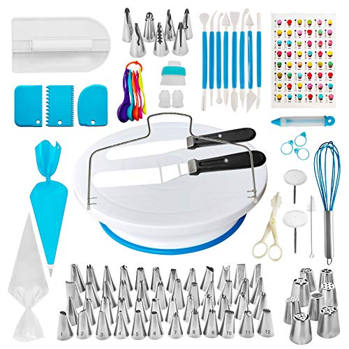 128 Pcs Cake Decorating Supplies Kit for Beginners, Mr Wonhz Baking Accessories with a Non-Slip Base Cake Turntable, 48 Numbered Icing Tips Set with Straight & Angled Spatula for Cake Lovers Kid
