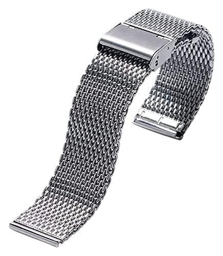 FETTR Correa de reloj de acero de moda con hebilla de gancho de plata, correa de reloj de malla de acero inoxidable de 20 mm y 22 mm + 2 barras de resorte (tamaño: 20 mm)