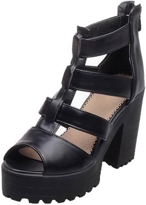 WeenFashion Women's High-Heels Solid Pu Open-Toe Sandals, CA18LB05085