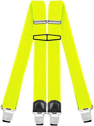 Decalen Hosenträger für Herren mit 4 Starken Clips X Form Lang Eine Größe Passt Alle Verschiedenen Farben, Gelbes Neon, Lange