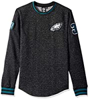Ultra Game Men's NBA Fleece Sweatshirt Long Sleeve Shirt Rib Stripe, Philadelphia Eagles, Black, Large