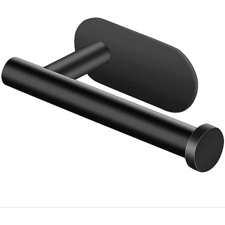 Jinlaili Porte Papier Toilette Mural, Support de Papier Toilette Adhesif, Porte Papier Toilette Noir, Porte Rouleau Papier WC Sans Percage, Derouleur Papier WC en Acier Inoxydable, 12.5cm