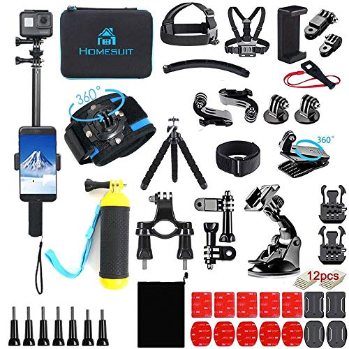 Homesuit Action Kamera Zubehör-Kit 60-In-1 für GoPro Hero 9 8 7 6 5 Session 4 3+ 3 2 1 Black Silver Insta360 GO 2 SJ4000/SJ5000/SJ6000 DJI OSMO Action DBPOWER AKASO Xiaomi Yi APEMAN-Black