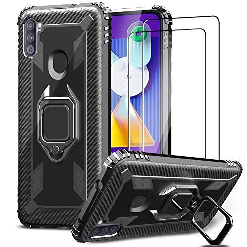 IMBZBK für Samsung Galaxy M11/A11 Hülle + [2 Stück] Samsung Galaxy M11/A11 Panzerglas Schutzfolie, [360 Grad Drehung Fingerring Ständer] [Military Grade Schutz] Silikon weiches TPU-Gehäuse-Schwarz
