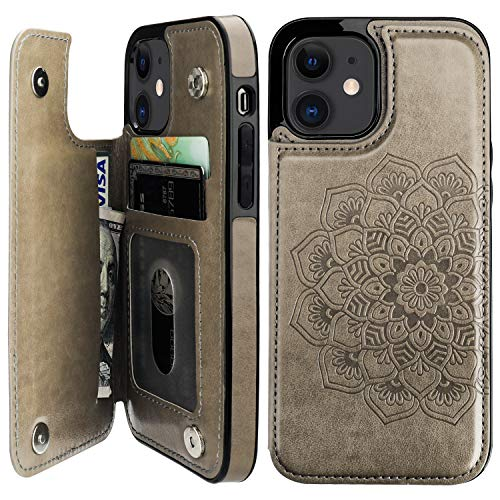burs Compatible with iPhone 12 and iPhone 12 Pro Case Wallet with Card Holder,Embossed Mandala Pattern Flower PU Leather Double Magnetic Buttons Flip Shockproof Protective Cover 6.1 Inch(Gray)