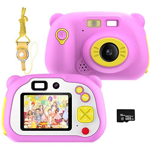 Pancellent Macchina Fotografica per Bambini WiFi Sharing Videocamera Digitale 1080P HD con Doppia Fotocamera con Involucro in Silicone Morbido per Giochi all aperto (Rosa)