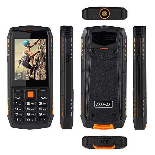 Téléphone Portable à Bouton Principal, téléphone Robuste Téléphone Portable déverrouillé IP68 Étanche Antichoc Antichoc Grand Bouton Grand écran Grand écran 3G Batterie puissante (Orange)