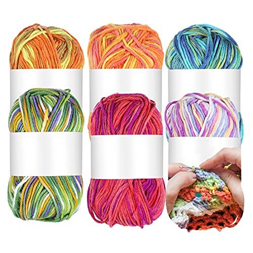 Hilo de ganchillo para bufandas Hilo de tejer para todo tipo de ganchillo hecho a mano o hecho a máquina, adecuado para tejer sombreros, zapatos, bufandas, ropa, 6 piezas 50G