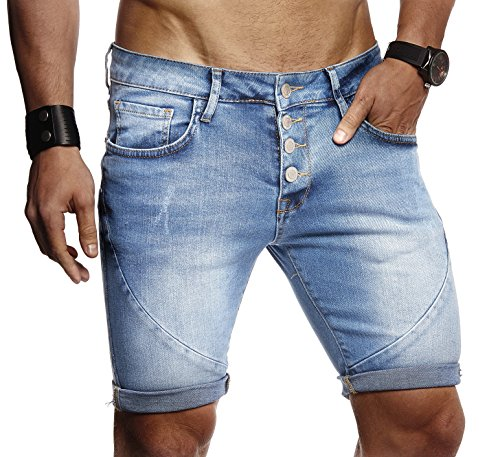 LEIF NELSON Herren Männer Jungen Sommer Kurze Jogger Jeans Hose Shorts Jeanshose Chinos Cargo Bermuda Basic 5-Pocket, Blau, W33