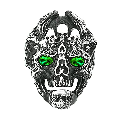 Gothic Cool Crystal Dragon Head Skull Rings Vintage Antique Punk Hip-hop Rock Biker Skull Ring Cocktail Party Jewelry Great Christmas Halloween for Men Women Gift (Green, 10)
