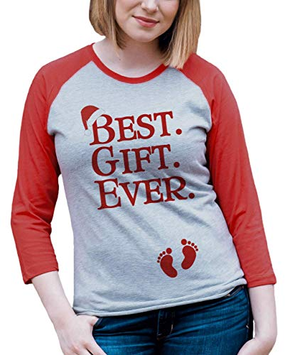 7 ate 9 Apparel Womens Pregnancy Announcement Christmas Raglan Large Red