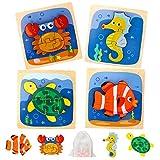LBLA Puzzles de Madera,4 Piezas Rompecabezas de Madera para Niños,Montessori Juguete Habilidad motora Fina Juego Educativos Juguetes