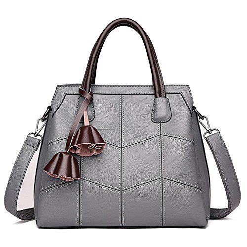 Penao Einzelne Linie PU Umhängetasche bestickt, Mode Damen dreistöckigen Einkaufstasche, Größe 30cmx12cmx26cm